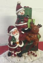Large Ceramic Glazed Christmas Ornament with LED Lights & Optional Music ~ Reindeer ~ Santa ~ Snowman